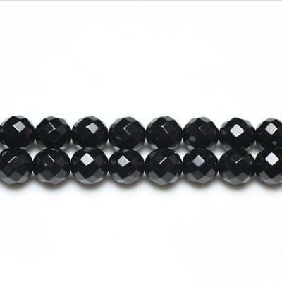 Strand Of 95+ Black Onyx 4mm Faceted Round Beads GS3373-1