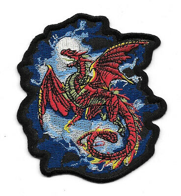 Whitbywyrm Red Dragon Figure Embroidered Patch, NEW UNUSED
