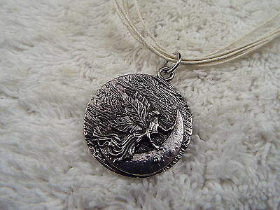 Fairy Lady Crescent Moon Pendant Cream Leather Cord Necklace (A38)