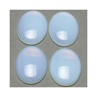 Pack of 2 x Clear Opalite 13 x 18mm Oval-Shaped Flat-Backed Cabochon CA16644-4