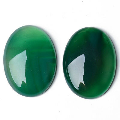 Pack of 2 x Green Onyx 12 x 16mm Oval-Shaped Flat-Backed Cabochon CA17392-4