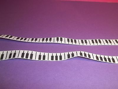 galon tissu notes de piano, accordeon, miniature, 50cm x 1 cm   CL1