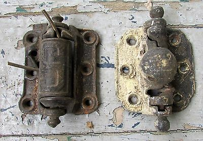 2 Antique Vtg Cast Iron Spring Hinge Door Stover MFG. Co. Victorian Hardware