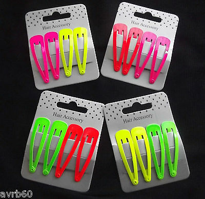 Set of 4 bright neon hair sleepies clips new colour choice 5.5 cm metal