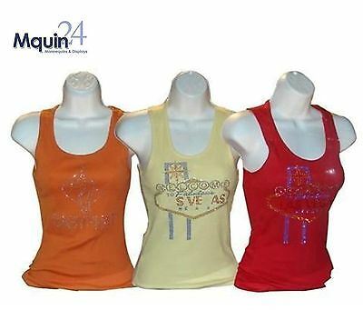 Lot of 3 FEMALE TORSO MANNEQUINS WHITE for T-SHIRTS : SIZE SM-MD - HARD PLASTIC
