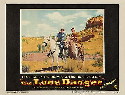 CLAYTON MOORE with TONTO on horses * THE LONE RANGER * 11x14 * LC print * 1956
