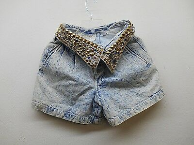 Ladies 80s Vintage Rhinestone Whiplash High Waist Denim Shorts sz:XS (#16524 N^)