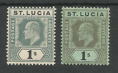 ST LUCIA  SG74&75 THE 1905&1907  EVII 1/-s MOUNTED MINT CAT £55