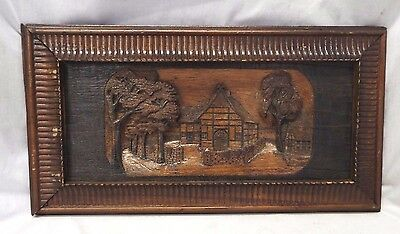 Old Antique Hand Carved WOODEN Oak WALL Picture House & Trees Signed H. MEIER