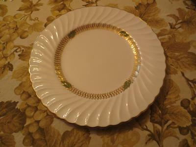 """Syracuse China  Champlain Dinner Plate 10 1/8 inch"""" Gold S Ring & green leaves"""