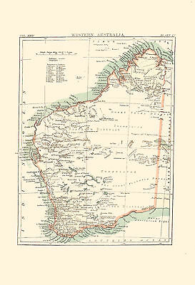 1896 Color Map of WESTERN AUSTRALIA - Unexplored Interior  - Great Detail