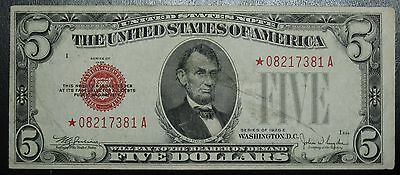 1928 E Five Dollar $5 United States Red Seal Star Note Grading XF 7381A