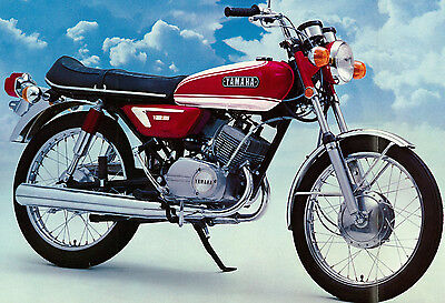 YAMAHA Poster AS3 125 1971 and 1972 Red Superb Suitable to Frame