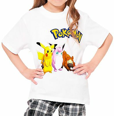 Pokemon Girls Kid Youth T-Shirt Tee Age 3-13 New