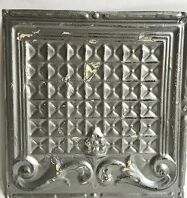 "1890's 12"" x12"" Antique Tin Ceiling Tile Silver 116a Metal Reclaimed Anniversary"