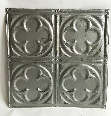 "1890's 12"" x 12 Antique Tin Ceiling Tile Silver 117a Metal Reclaimed Anniversary"