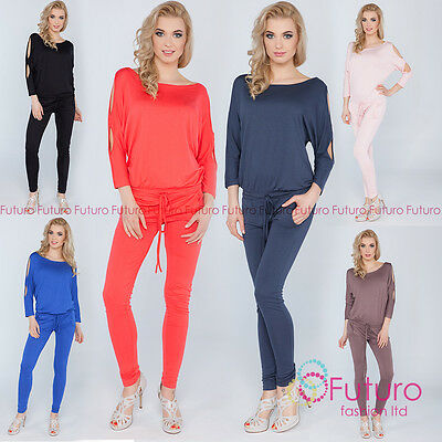 Womens Jumpsuit With Pockets Boat Neck Open 3/4 Sleeve Playsuit Sizes 8-14 1081