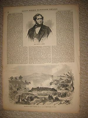 Antique 1855 Mount Vesuvius Italy Valley Of Somma Volcano Eruption Print Rare Nr