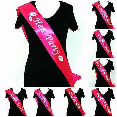 Hen Night Party Sashes Bride Wedding Party Night Sash Accessories Bridesmaid ML