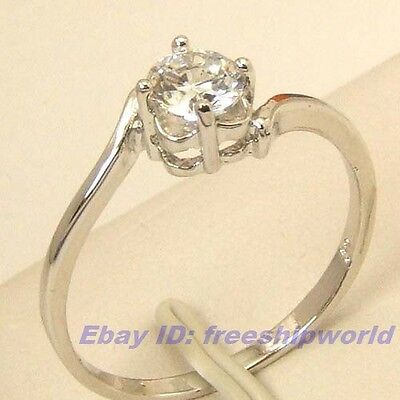3pcs Wholesale Size 8 Ring,REAL 0.45Ct SOLITAIRE GEMSTONE 18K WHITE GOLD GP GEP