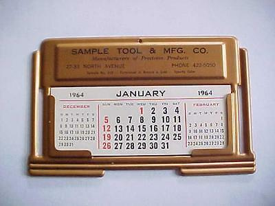 1964 Salesman Sample Desk Calendar / SAMPLE TOOL & Mfg Company / Stamped Metal