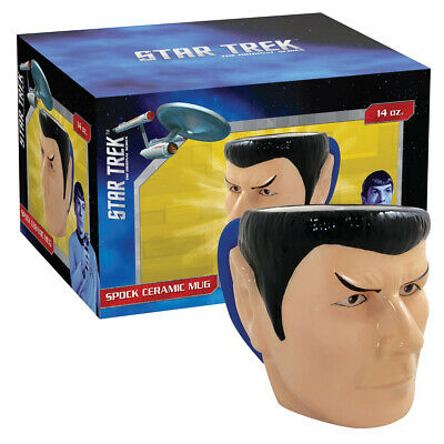 Classic Star Trek Spock Molded Head Image Figural Ceramic 16 oz Mug NEW BOXED