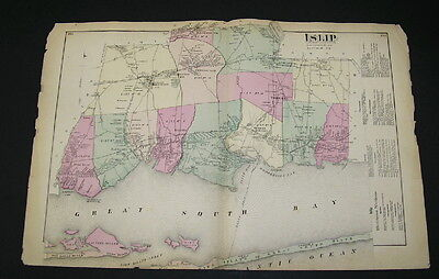 1873 Beers Long Island Atlas Islip Bayshore Youngport Oakdale Sayville Map
