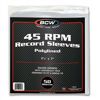 Pack of 50 BCW Polylined Paper 45RPM Record Single Inner Sleeves poly lined