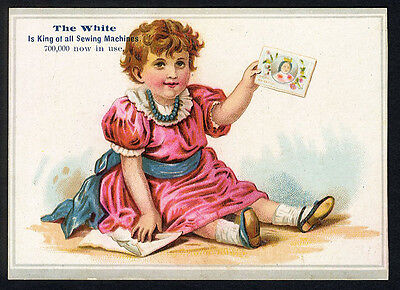 Little Girl - WHITE SEWING MACHINE Cleveland Ohio - Victorian Trade Card 1880's