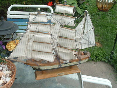 Vintage Wood Model Ship Boat Gorch Fock Hand Crafted 20 X 17 Perfect
