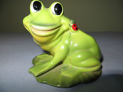 Josef Original Green Frog With Lady Bug  Figurine