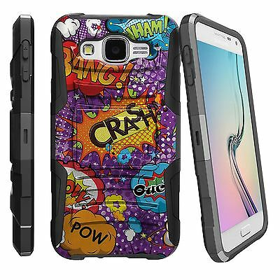 For Various Samsung Phone Models Rugged Clip Combo Case Crash Ouch Comic