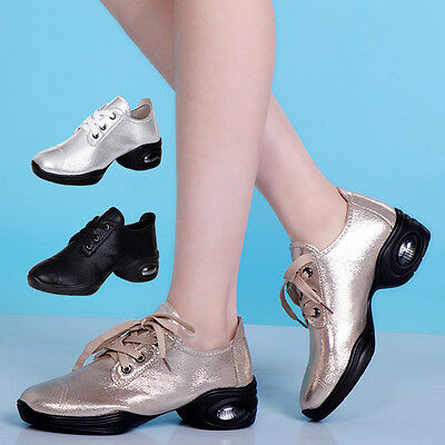 New Women Jazz Modern Square Dance Shoes Lace Up Split Sole Sneakers Trainers