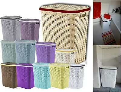 Plastic Laundry Basket Rattan Style 56L Cloth Washing Storage Hamper Tidy Caddy