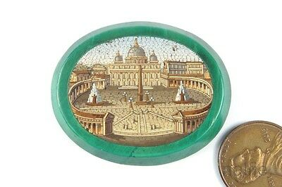 Quality Antique Malachite St Peters Square & Basilica Rome Micromosaic Panel
