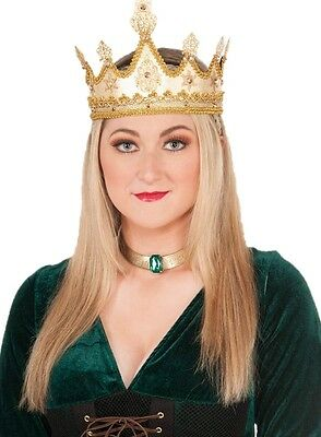 Women's Medieval Golden Queen Crown Renaissance Princess Costume Accessory