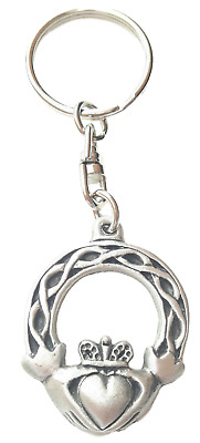 Claddagh Irish Handcrafted From English Pewter Key Ring + Gift Bag