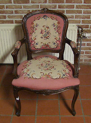 Lovely French Oak Pink Needlepoint Armchair -  (020115)