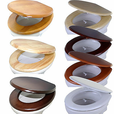 """18"""" Universal Toilet Seat Bathroom WC Easy Fit including Fittings Wooden MDF W/C"""