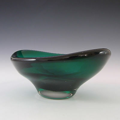 Whitefriars/Baxter Sea Green Glass Oval Bowl #9515