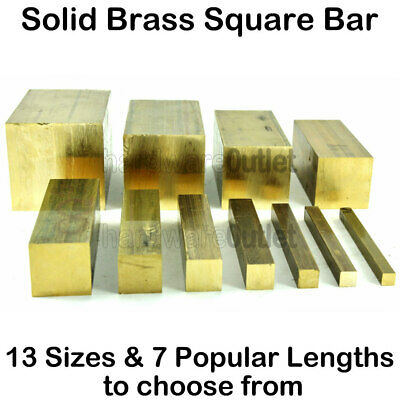Solid Brass Square Bar - 13 Sizes Available - 7 Popular Lengths