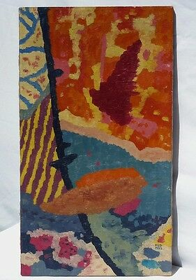 An abstract oil on canvas with wooden stretchers, unframed by Robert E. Gilbert.