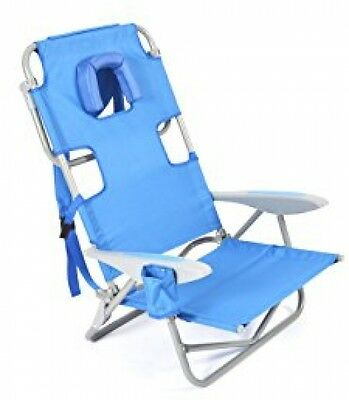 New Ostrich On-Your-Back Backpack Beach Chair 5 Position Extra Wide,Blue $0Ship