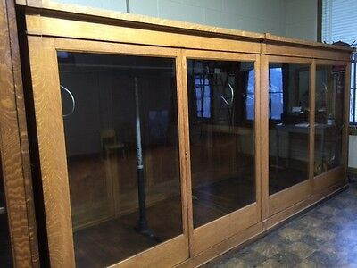 1920's Oak Clothing Store Showcase Wardrobe Cabinet Closet Fixture Display Case