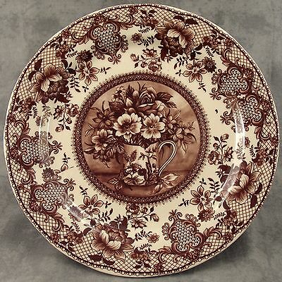 BROWN & CREAM TRANSFERWARE FLORAL COUNTRY TOILE PLATE ~Bouquet Teacup Center~