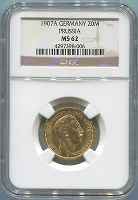 1907A German States Prussia, 20 Mark Gold. NGC MS62