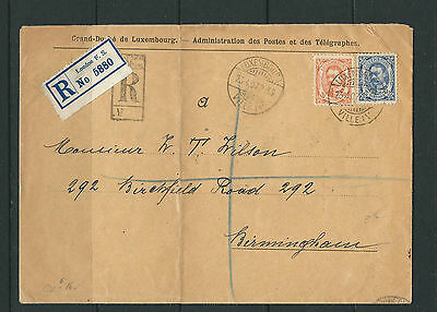 LUXEMBOURG 1907 REGISTERED cover VILLE to BIRMINGHAM ENGLAND