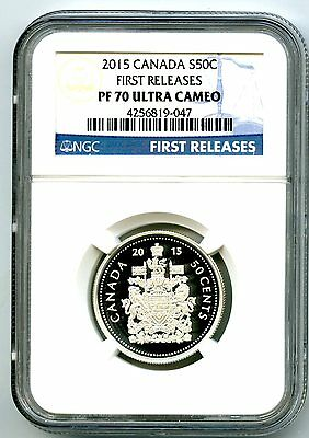 2015 Canada Silver Proof 50 Cent Half Dollar Ngc Pf70 Ucam .999 First Releases