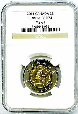 2011 Canada Toonie $2 Boreal Forest Ngc Ms67 Highest Grade Top Population Coin