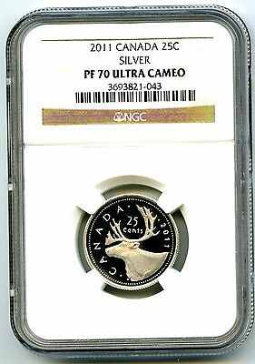 2011 Canada Silver Proof 25 Cent Ngc Pf70 Ucam Quarter Super Rare Only 6 Known